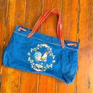 VTG denim faux leather embroidered chicken purse